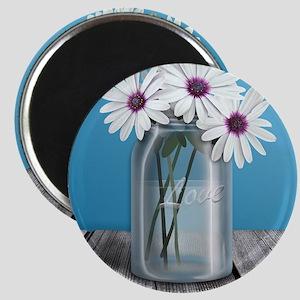 White and Purple Daisy Mason Jar Blue Magnet