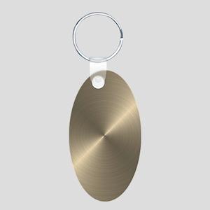 Metallic Gold Aluminum Oval Keychain