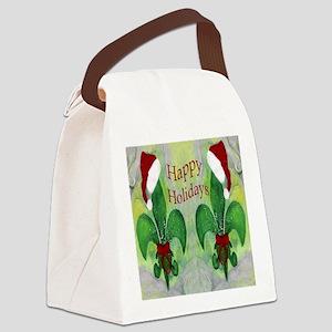 Christmas Santa Fleur de lis Canvas Lunch Bag