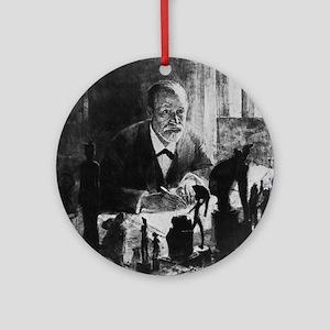 Sigmund Freud, Austrian psychologis Round Ornament