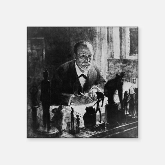 "Sigmund Freud, Austrian psy Square Sticker 3"" x 3"""