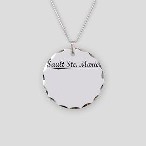 Sault Ste. Marie, Vintage Necklace Circle Charm