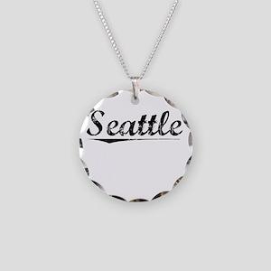 Seattle, Vintage Necklace Circle Charm