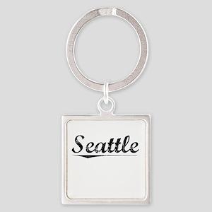 Seattle, Vintage Square Keychain