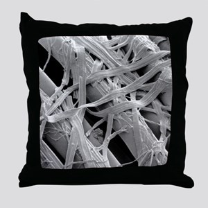 SEM of lyocell (synthetic cellulose)  Throw Pillow