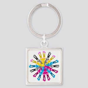 Colorful Cosplay Girls Square Keychain