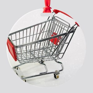 Shopping trolley Round Ornament