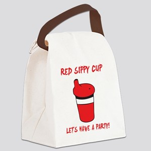 Red Sippy Cup Canvas Lunch Bag