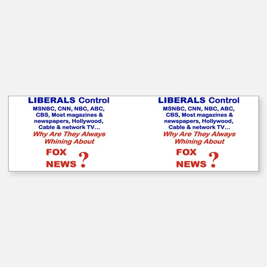 LIBERALS CONTROL MSNBC CNN AMC AB Sticker (Bumper)