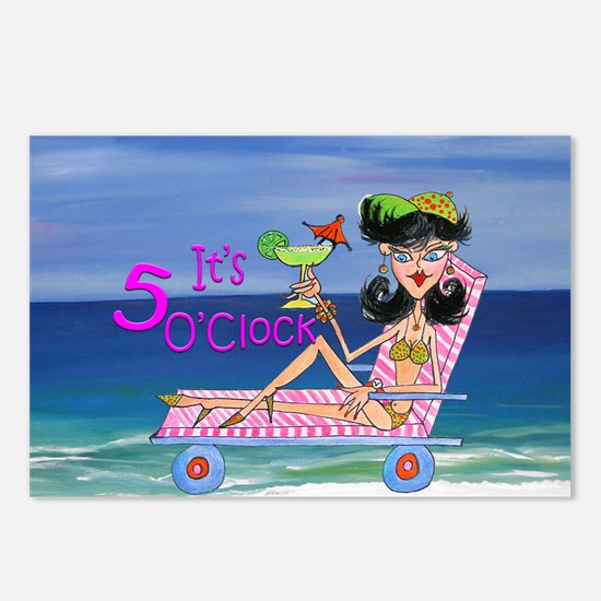 Its 5 OClock beach girl Postcards (Package of 8)