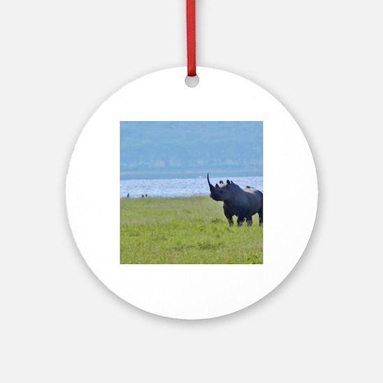 nakuru black rhino kenya collection Round Ornament