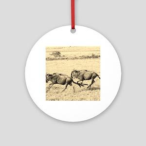 Wildebeest Crossing Sepia Round Ornament
