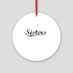 Sisters, Vintage Round Ornament