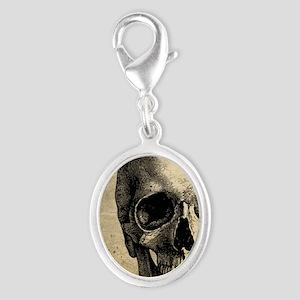 Vintage Skull Silver Oval Charm
