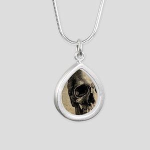 Vintage Skull Silver Teardrop Necklace