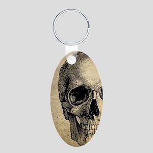 Vintage Skull Aluminum Oval Keychain