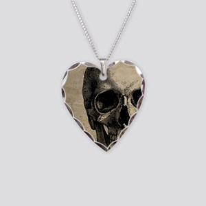 Vintage Skull Necklace Heart Charm