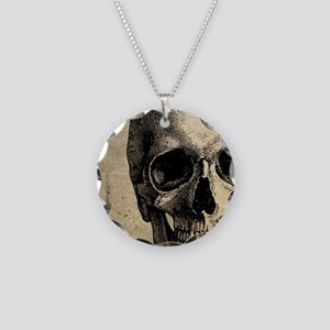 Vintage Skull Necklace Circle Charm
