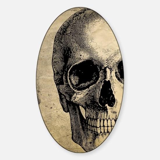 Vintage Skull Sticker (Oval)