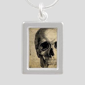 Vintage Skull Silver Portrait Necklace