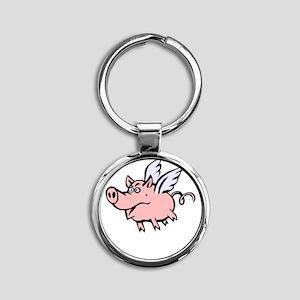 When Pigs Fly Round Keychain