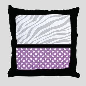 Purple Polka Dot Faded Zebra Print Throw Pillow