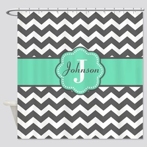 Gray Mint Chevron Personalized Shower Curtain