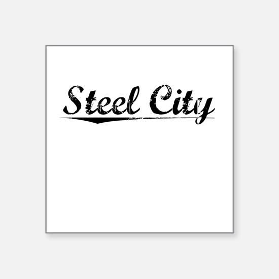 "Steel City, Vintage Square Sticker 3"" x 3"""