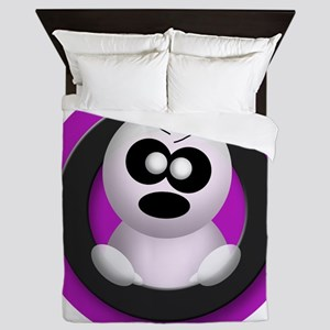 Cute Angry Ghost Purple Queen Duvet