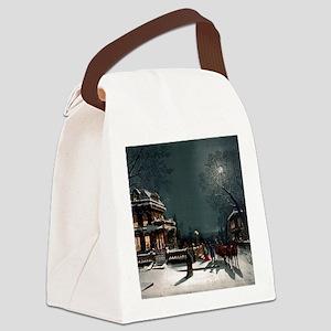 Vintage Christmas Eve Canvas Lunch Bag