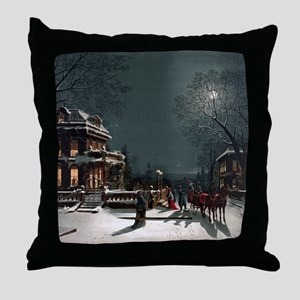 Vintage Christmas Eve Throw Pillow