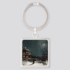 Vintage Christmas Eve Square Keychain