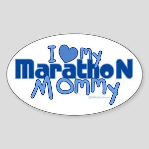 I Love My Marathon Mommy Oval Sticker