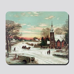 Vintage Christmas Winter Mousepad