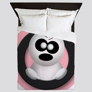 Cute Angry Ghost Pink Queen Duvet