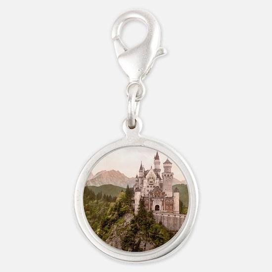 Neuschwanstein Castle Silver Round Charm