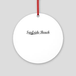 Surfside Beach, Vintage Round Ornament