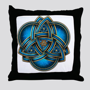 Blue Celtic Triquetra Throw Pillow