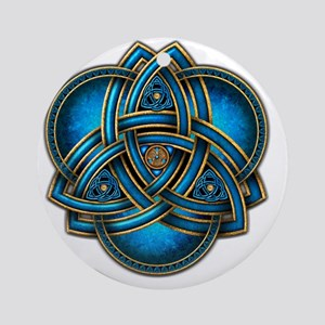 Blue Celtic Triquetra Round Ornament