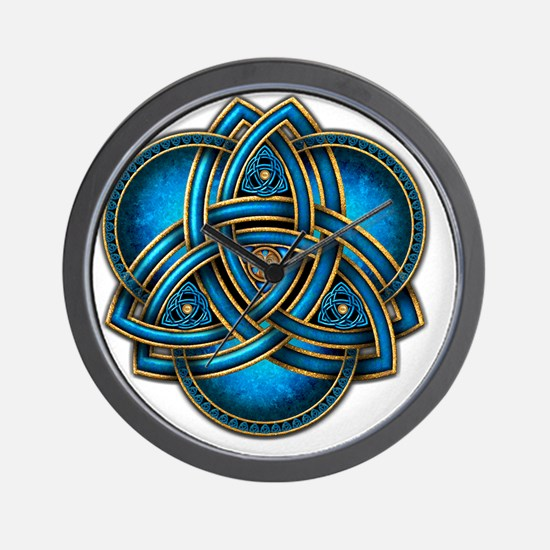 Blue Celtic Triquetra Wall Clock