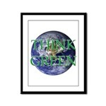 Think Green Earth Framed Panel Print