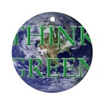 Think Green Earth Ornament (Round)