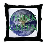 Think Green Earth Throw Pillow