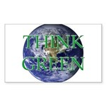 Think Green Earth Rectangle Sticker