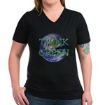 Think Green Earth Women's V-Neck Dark T-Shirt