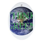 Think Green Double Sided Oval Ornament