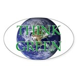 Think Green Double Sided Oval Sticker