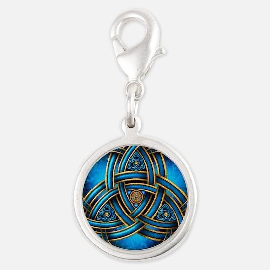 Blue Celtic Triquetra Silver Round Charm