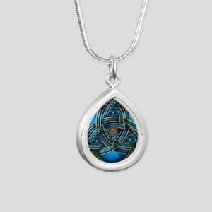 Blue Celtic Triquetra Silver Teardrop Necklace