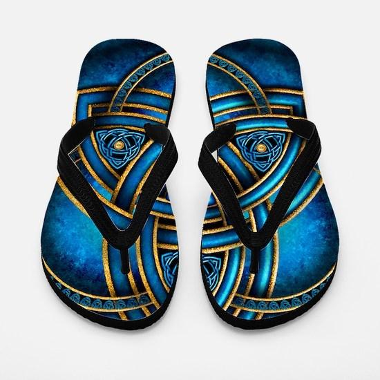 Blue Celtic Triquetra Flip Flops